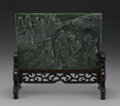 Asian:Chinese, CHINESE CARVED JADE/HARDSTONE TABLE SCREEN. Chinese carvedjade/hardstone table screen depicting eight celestial beings am...