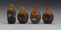 Asian:Chinese, CHINESE CARVED SNUFF BOTTLES. Three Chinese carved four coloroverlay snuff bottles on amberine ground with monkeys and vi...(Total: 4 )