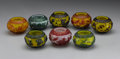 Asian:Chinese, GROUP OF EIGHT JARETES. Group of eight Beijing glass overlayjaretes, of various colors, depicting ducks, flowers, dragons...(Total: 8 )