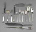 Miscellaneous: , ROGER BROS. SILVER PLATE FLATWARE SET. Set includes eight dinnerknives, seven dinner forks, eight salad forks, eight soup...