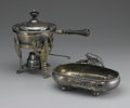 Miscellaneous: , SILVER PLATE WARMING DISH AND BURNER. Silver plate warming dish with stand and burner, with lobster legs. Warming dish mar... (Total: 2 )