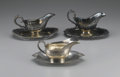 Miscellaneous: , GROUP OF THREE SILVER SAUCE BOATS. Group includes two silver platesauce boats with attached trays, one marked to base I... (Total:3 )