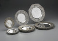 Miscellaneous: , SET OF SILVER PLATE UNDERPLATES. Set of octagonal underplates includes six dinner plates, six salad plates, and six bread ... (Total: 18 )