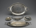 Miscellaneous: , GROUP OF FOUR SILVER PLATE TRAYS AND BREAD BASKET. Two trays with double handles, two small relish trays, and one bread ba... (Total: 4 )