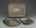 Miscellaneous: , GROUP OF FIVE SILVER PLATE TRAYS. Group includes five silver platetrays, three of rectangular form and ovular form, all w... (Total:5 )