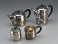Miscellaneous: , DEPARTMENT 56 SILVER PLATE COFFEE AND TEA SET. Set includes coffeepot, tea pot, creamer and sugar dish, of contemporary d... (Total:4 )