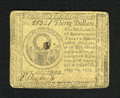 Colonial Notes:Continental Congress Issues, Continental Currency May 10, 1775 $30 Very Fine-Extremely Fine.Although this note is somewhat darker than what is usually s...