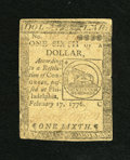 Colonial Notes:Continental Congress Issues, Continental Currency February 17, 1776 $1/6 Very Fine. A couple oftears and pinholes are seen on this fractional Fugio note...