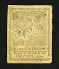 Colonial Notes:Continental Congress Issues, Continental Currency January 14, 1779 $45 Extremely Fine. This isthe technical grade only as it appears to have been mounte...