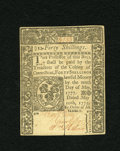 Colonial Notes:Connecticut, Connecticut May 10, 1775 40s Choice About New. A lightly slash cancelled example that has great embossing, bold printing and...