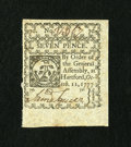 Colonial Notes:Connecticut, Connecticut October 11, 1777 7d Uncancelled Choice New. This smallchange note is well margined, well signed, and most impor...