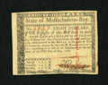 Colonial Notes:Massachusetts, Massachusetts May 5, 1780 $8 Choice New. A wonderfully marginedexample of this common Massachusetts issue that is fully sig...