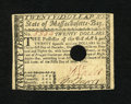 Colonial Notes:Massachusetts, Massachusetts May 5, 1780 $20 Extremely Fine. A lightly circulatedexample of this highest denomination which has some light...