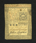 Colonial Notes:Pennsylvania, Pennsylvania October 1, 1773 15s Very Fine. A tightly marginedcolonial with good signatures and a light stain....