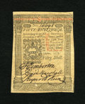 Colonial Notes:Pennsylvania, Pennsylvania October 1, 1773 50s Choice New. A near gem note withgreat signatures but with a light stain on the upper corne...