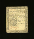 Colonial Notes:Pennsylvania, Pennsylvania April 20, 1781 9d Extremely Fine. A couple of lightfolds are all that are found on this small change note. Th...