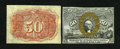 Fractional Currency:First Issue, Fr. 1313SP 50c First Issue Narrow Margin Pair. The face grades Choice New, with a thick, flashy gold overprint. The back... (Total: 2 notes)