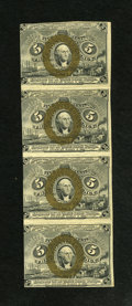Fractional Currency:Second Issue, Fr. 1232 5c Second Issue Uncut Strip of Four Extremely Fine-About New. There are folds between all the notes and a couple of...