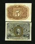 Fractional Currency:Second Issue, Fr. 1232SP 5c Narrow Margin Pair Second Issue Choice New. Light corner mounting remnants are seen on this otherwise lovely g... (Total: 2 notes)