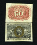Fractional Currency:Second Issue, Fr. 1314SP 50c Narrow Margin Pair Second Issue Choice New. A very attractive specimen pair that has some light mounting remn... (Total: 2 notes)
