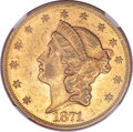 Liberty Double Eagles, 1871 $20 AU55 NGC....
