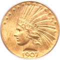 Indian Eagles, 1907 $10 Wire Rim MS64+ PCGS. CAC....