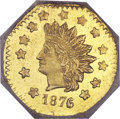 California Fractional Gold, 1876/5 $1 Indian Octagonal 1 Dollar, BG-1128, R.5, MS65 ProoflikeNGC....