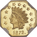 California Fractional Gold, 1872 $1 Indian Octagonal 1 Dollar, BG-1120, Low R.5, MS65 ProoflikeNGC....