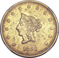 Territorial Gold, 1855 $20 Wass Molitor Twenty Dollar, Small Head -- Harshly Cleaned-- NGC Details. AU. K-7, High R.5....