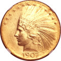 Indian Eagles, 1907 $10 Wire Rim MS65 NGC....