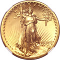 High Relief Double Eagles, 1907 $20 High Relief, Flat Rim MS65 NGC....