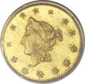 "California Fractional Gold, ""1863"" 50C Round Liberty 25 Cents, BG-1305, High R.7, MS64 NGC...."