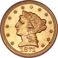 Liberty Quarter Eagles, 1871-S $2 1/2 MS64 NGC....