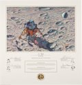 "Autographs:Celebrities, ""In Flight"" Alan Bean Color Limited Edition Lithograph Signed bythe Apollo 14 Crew...."