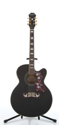 Musical Instruments:Acoustic Guitars, 2006 Epiphone EJ-200CE Black Electric Acoustic Guitar#SI06110842....