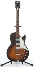 Musical Instruments:Electric Guitars, 1960's Truetone Jazz King Sunburst Semi-Hollow Body ElectricGuitar, #N/A....