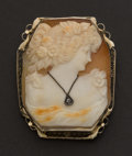 Estate Jewelry:Cameos, Gold Frame Shell Cameo. ...