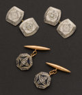 Estate Jewelry:Cufflinks, Two Platinum Topped Diamond Cufflink Sets. ... (Total: 2 Items)