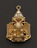 Estate Jewelry:Other , Gold & Enamel Three Panel Masonic Fob. ...