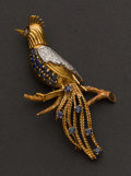 Estate Jewelry:Brooches - Pins, Very Fine Gold, Diamond & Sapphire Brooch. ...
