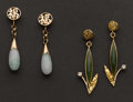 Estate Jewelry:Earrings, Two Pairs Jade Earrings. ... (Total: 2 Items)