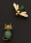 Estate Jewelry:Brooches - Pins, Gold & Jade Pins. ... (Total: 2 Items)