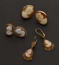 Estate Jewelry:Earrings, Three Gold Cameo Earrings. ... (Total: 3 Items)