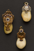 Estate Jewelry:Other , Three Gold Topped Elks Tooth Fobs. ... (Total: 3 Items)