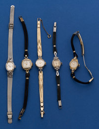 Five - 14k Gold Ladies Wristwatch With Non Gold Bands