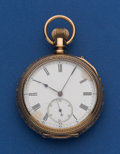 Timepieces:Pocket (post 1900), Swiss 14k Gold 51 mm Pocket Watch With Interesting Gold Dust Cover& Case. ...