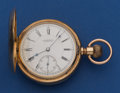 Timepieces:Pocket (post 1900), Howard N Size 14k Gold Series VII - 15 Jewel Hunter's Case PocketWatch. ...
