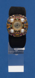 Timepieces:Pocket (post 1900), Lucien Piccard 14k Gold & Gem Stone Ladies Wristwatch With A 14k Gold Buckle. ...