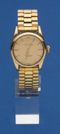 Timepieces:Wristwatch, Rolex Gold Top Steel Back Oyster Perpetual Wristwatch With MetalBand. ...