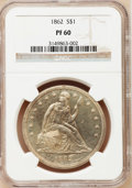 Proof Seated Dollars: , 1862 $1 PR60 NGC. NGC Census: (2/140). PCGS Population (11/145).Mintage: 550. Numismedia Wsl. Price for problem free NGC/P...